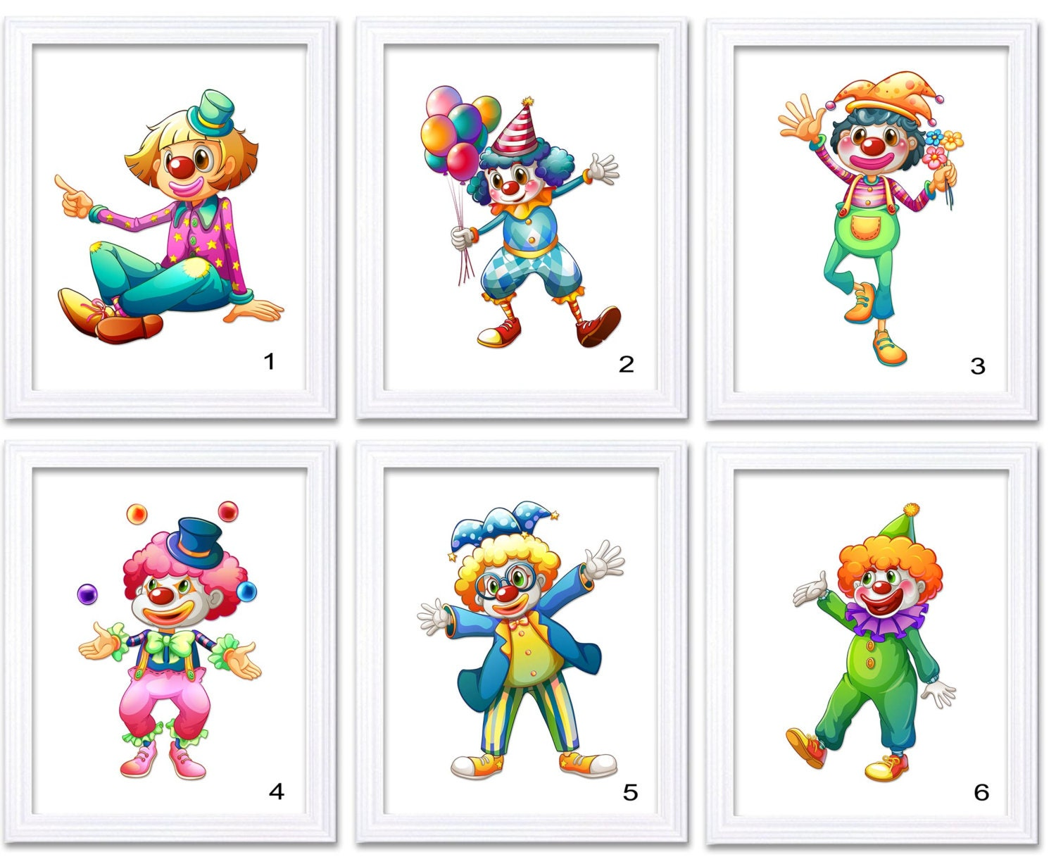 Carnival Circus Clowns Nursery Art Print Mix and Match Child Baby Boys Kids Room Wall Decor Balloon