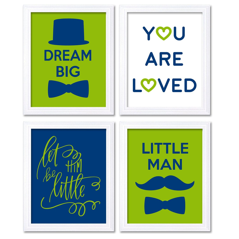 Little Man Art Nursery Art Navy Blue Lime Green Nursery Print Set of 4 Mustache Bowtie Let Them Be L