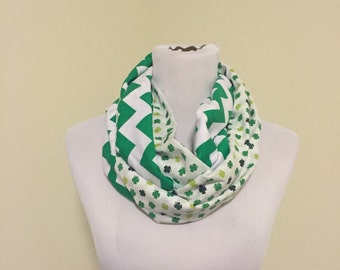 St. Patricks day scarf shamrocks and green chevron WILL SHIP QUICKLY