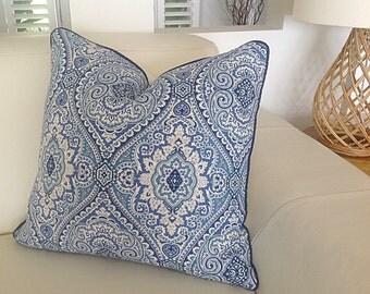 Cushions, Blue and White Damask Designer Cushions Hampton's Style Pillows, Decorative Pillow, Cushion Cover, Coastal