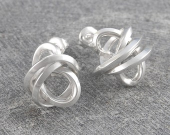 Silver Silver, Wire Wrapped Studs, Sterling Silver, Large Studs, Statement Earrings, Stud Earrings, Edgy Studs, Silver Earrings, Wire Ball