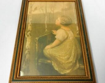 Vintage Print Spring Song Simon Glucklich Framed Little Girl Blind Robin 1920