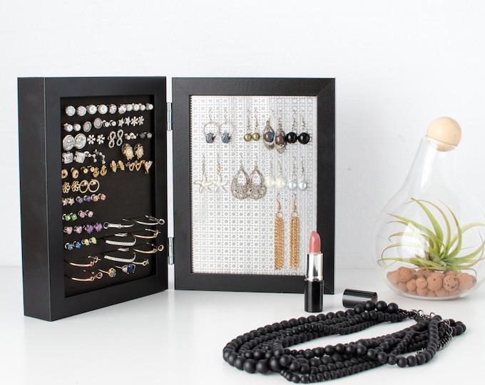 Earring Holder - Black 5x7 Double Frames - Stud & Hook Earring Organizer