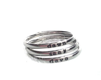 Mothers Stack Name Rings Personalized Skinny Mini Rings 2mm Polished Shiny Stainless Steel Metal Stamped Name Rings