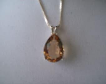 Champagne Quartz Pear Pendant in Sterling Silver