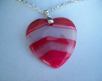"Red Striped Agate Heart pendant with chain 2"" long"