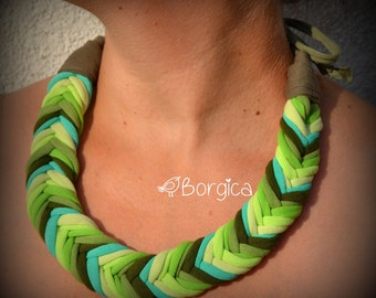Green and turquoise ombre zikk-zakk - upcycled necklace, fiber jewelry, eco friendly necklace, colorful jersey stripes