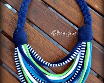 Kiwi Turquoise Nautical Multistrand recycled fabric jewelry upcycled fiber necklace tshirt necklace