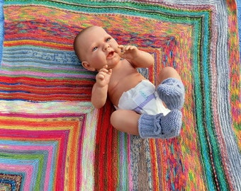 surprise-babyblanket, handknitted, sockyarn, colorful, blanket, stroller blanket, unique,