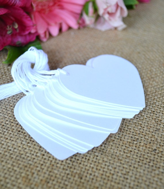 string, heart wedding favor tags, white price tags, white favor tags ...