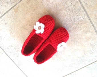 Crochet Slippers, Extra Thick Cozy Women's House Shoes, Red Slippers by Vikni Designs