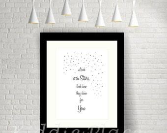 Kids Print-InspirationalQuote-Look at the stars-Nursery-Bedroom-Wall Art