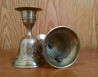 Vintage Brass Bell Candle Holders, Etched Brass Candlestick, ZY India World Gift