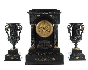 19th century Fabulous French Mantle Clock w/2 Garnitures by Guilloud & Martrejean