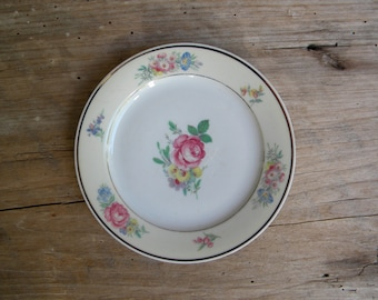 Zeh Scherzer Bavaria Germany US Zone Floral China Plate with Gold Trim / US German Zone Floral Plate / 1940's Vintage Floral Plate