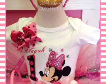 Minnie Mouse embroidered birthday shirt