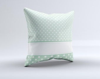 Vintage Light Green Polka Dot With White Strip ink-Fuzed Decorative Throw Pillow