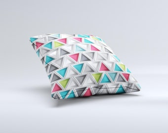 The Vibrant Colored Triangled 3d Shapes ink-Fuzed Decorative Throw Pillow