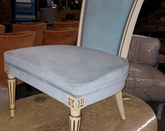 1950s Vintage French Hollywood Regency Slipper Chair Boudoir Chair Pale Blue Velvet Chair Antique Gold Accent Excellent Condition