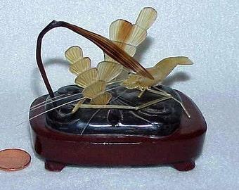 Antique Oriental Carved Baishi HORN SHRIMP Sculpture Underwater Scene Wooden Base