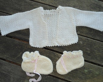Vintage Lace Baby Sweater and Booties