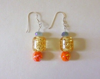Multi color iridescent blue and orange and gold glitter vintage bead and sterling silver dangle earrings