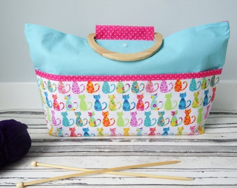 Cat knitting project bag, crochet project bag, craft project bag, yarn bag, yarn bag, sewing bag, mother's day gift,