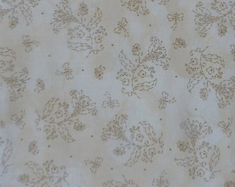 CLEARANCE SALE - In Stitches~Brown Flowers on Tan~Cotton Fabric, Quilt, Home Decor~Maywood STudio~Fast Shipping F474