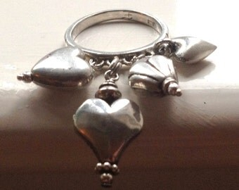 Sterling Silver 6.7g Danling Hearts Cha Cha Ring Size UK 0 - US 7.25