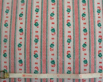 Vintage 70s Christmas Candy Cane Stripe Fabric