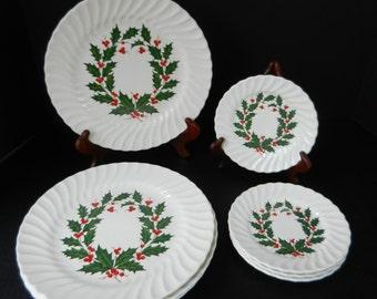 Scio Christmas Holly Plates, Mid Century Dinnerware, 4 Dinner Plates, 4 Bread Plates, Salad Plates or Dessert Plates