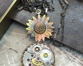 steampunk jewelry- Filagree Sunflower Steampunk Necklace Handcrafted artistic  -The Victorian Magpie