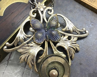 Steampunk necklace  butterfly watch parts Artistic steampunk jewelry -The Victorian Magpie