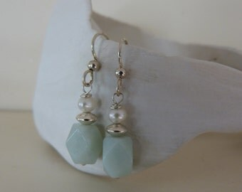 Amazonite and freshwater pearl, sterling silver earrings. Aqua, white.