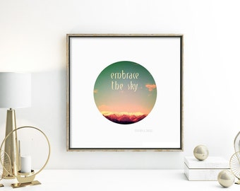 Fine art photography travel photography typography poster modern wall art pink red green white mountain photo office decor living room decor