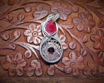 Ruby (India) and Ruby Facet, Oxidized fine and Sterling silver