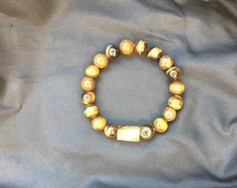 Handmade Tiger Eye Beaded Bracelet