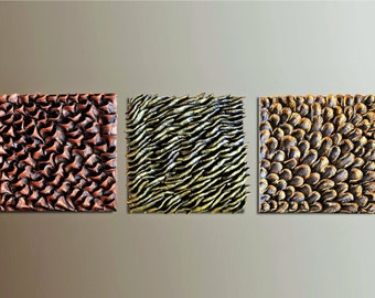 Set of 3 Wood Wall Tiles - Wall Sculptures - Textured Wall Decor - 3D Wood Wall Decor -  Wall  Hangings - 3D Paintings - Wall Installation