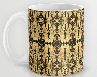 Unusual Solar Etching- Solar Art-Solar Pyrography ~ 'Dreamer' Repeated Pattern / Classy Ceramic Beverage Mug for Coffee, Tea, Hot Toddy, etc