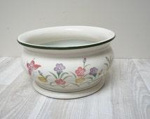 Milk white pink vase pot planter Europe Vintage Made in Holland Retro ceramic decor butterfly large green flower Netherlands Dutch