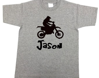 Personalized boys Dirt Bike shirt - MANY other colors! with your child's name transportation shirt for boys / toddler / kids