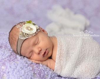 Newborn Headband, Infant Tieback, Newborn Tieback, Vintage Tieback, Baby Headband, Baby Halo, Neutral Tieback, Newborn Halo