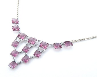Necklace Vintage Art Deco Amethyst Coloured Open Back Glass Necklace