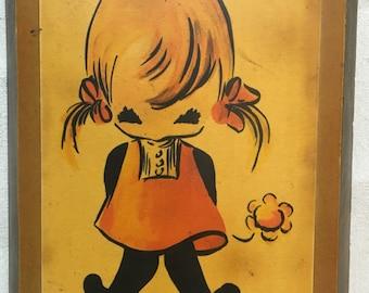 Little girl wood plaque