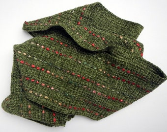 Sage green chenille scarf woven 6 by 76 inches