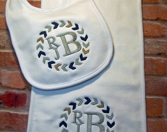 Baby bib, Burp cloth, Baby gift, Monogrammed Bib, Monogrammed burp cloth, Baby boy gift, Baby shower gift, Personalized baby gift.