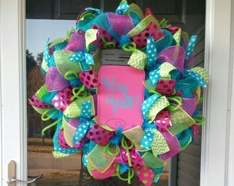 Summer Deco Mesh Wreath with Wooden Hey Y'all and Mason Jar Sign