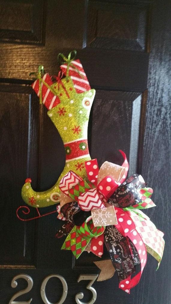 Sale Glittery Ice Skate Door Hanger Christmas Wreath