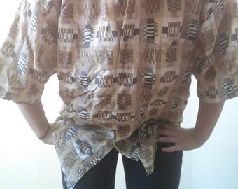 Geometric 90s silk shirt/ large/ Chiamare