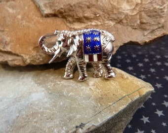 Republican Elephant Vintage Pin Red White and Blue Patriotic Elephant with Trunk Up for Good Luck